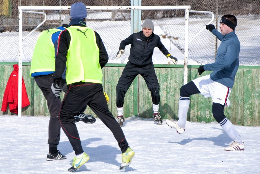 Russian players training in Winter in Russia