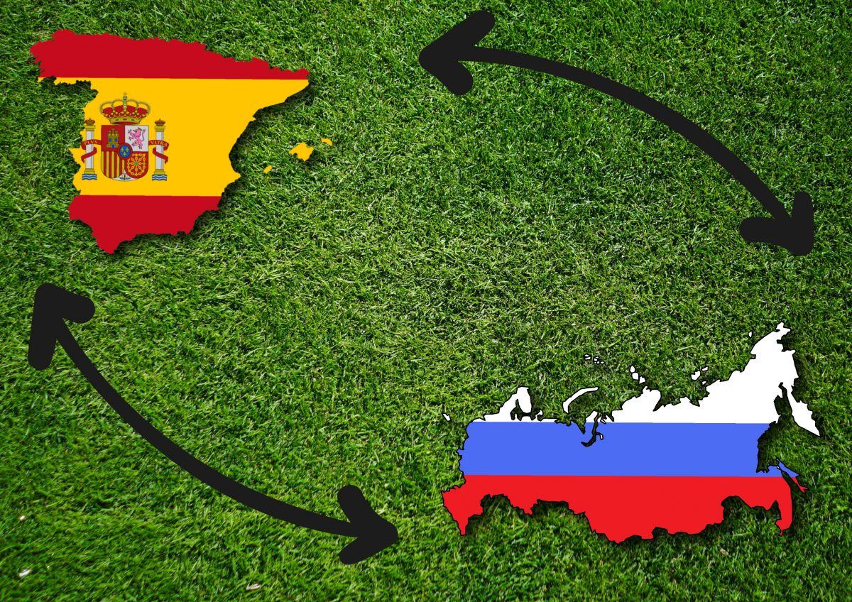 russian and spanish football players
