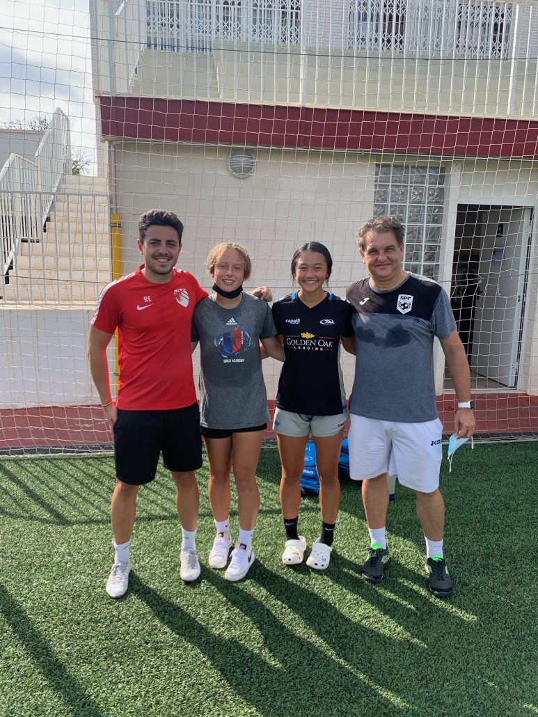 Ruben, Ava, Hope and David at the beginning of the training camp in Spain