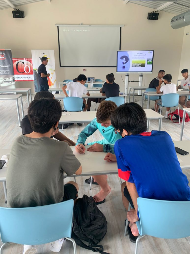 Spain RUSH-SPF players doing the activities proposed by Futelite
